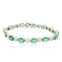 14KT White Gold 9.10 ctw Emerald and Diamond Bracelet