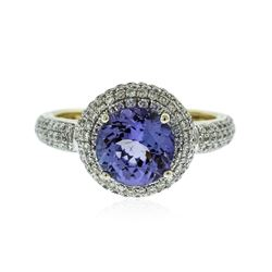 14KT White Gold 2.23 ctw Tanzanite and Diamond Ring
