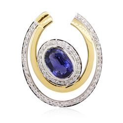 18KT Two-Tone Gold 2.61 ctw Sapphire and Diamond Pendant