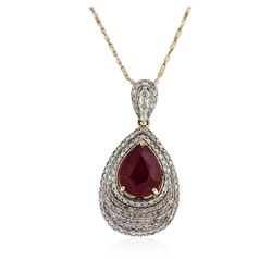 14KT Yellow Gold 4.78 ctw Ruby and Diamond Pendant With Chain