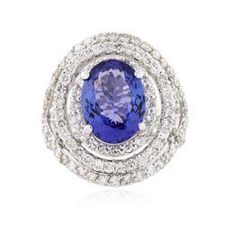 14KT White Gold 4.67 ctw Tanzanite and Diamond Ring