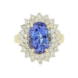 14KT Yellow Gold 4.07 ctw Tanzanite and Diamond Ring