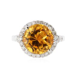 14KT White Gold 5.61 ctw Citrine and Diamond Ring