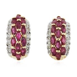 14KT Yellow Gold 4.16 ctw Ruby and Diamond Earrings
