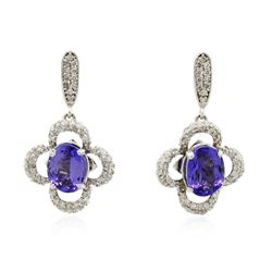 14KT White Gold 3.70 ctw Tanzanite and Diamond Earrings