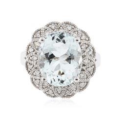 14KT White Gold 4.83 ctw Aquamarine and Diamond Ring