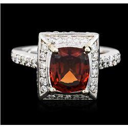14KT White Gold 2.95 ctw Garnet and Diamond Ring