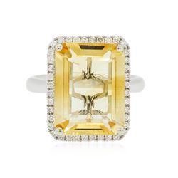 14KT White Gold 7.33 ctw Citrine Quartz and Diamond Ring