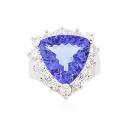 14KT White Gold GIA Certified 7.94 ctw Tanzanite and Diamond Ring