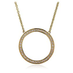 14KT Yellow Gold 0.90 ctw Diamond Pendant With Chain