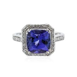 14KT White Gold 3.55 ctw Tanzanite and Diamond Ring