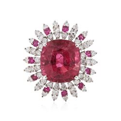18KT White Gold 17.06 ctw Pink Tourmaline, Ruby and Diamond Ring