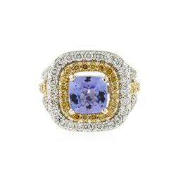 14KT Two-Tone Gold 2.43 ctw Tanzanite and Diamond Ring