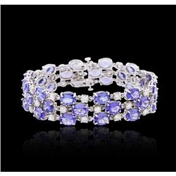 14KT White Gold 47.52 ctw Tanzanite and Diamond Bracelet