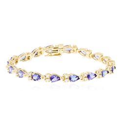 14KT Yellow Gold 6.84 ctw Tanzanite and Diamond Bracelet