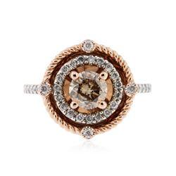 14KT White Gold 1.14 ctw Light Brown & White Diamond Ring