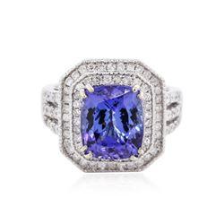 14KT White Gold 5.86 ctw Tanzanite and Diamond Ring
