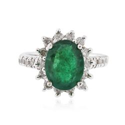 14KT White Gold 2.87 ctw Emerald and Diamond Ring