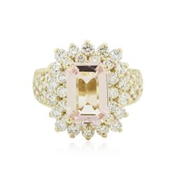 14KT Yellow Gold 3.06 ctw Morganite and Diamond Ring