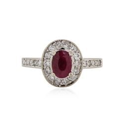 14KT White Gold 0.80 ctw Ruby and Diamond Ring