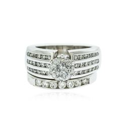 14KT White Gold 2.79 ctw Brilliant Cut Diamond Wedding Set