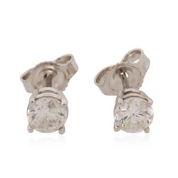 14KT White Gold 0.90 ctw Diamond Solitaire Earrings