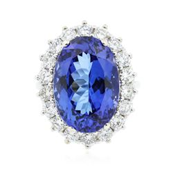 14KT White Gold 14.37 ctw GIA Certified Tanzanite and Diamond Ring