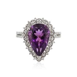 14KT White Gold 5.50 ctw Amethyst and Diamond Ring