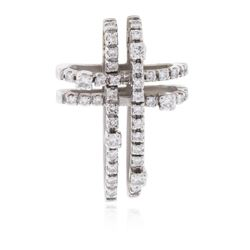 14KT White Gold 0.49 ctw Diamond Cross Pendant
