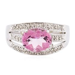 14KT White Gold 3.79 ctw Pink Topaz and Diamond Ring