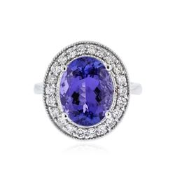 14KT White Gold 5.61 ctw Tanzanite and Diamond Ring