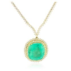 18KT Yellow Gold GIA Certified 49.47 ctw Emerald and Diamond Necklace