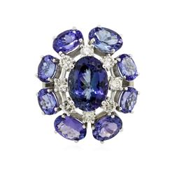 14KT White Gold 18.66 ctw Tanzanite Diamond Ring