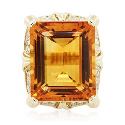 14KT Yellow Gold 35.61 ctw Citrine and Diamond Ring