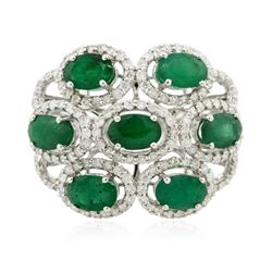 14KT White Gold 3.20 ctw Emerald and Diamond Ring