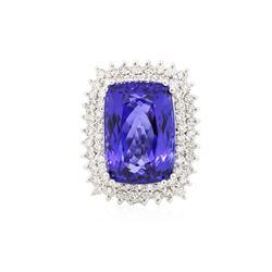 14KT White Gold GIA Certified 24.17 ctw Tanzanite and Diamond Ring