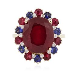 14KT Yellow Gold 10.42 ctw Ruby, Sapphire and Diamond Ring