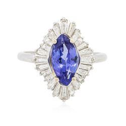 Platinum 1.86 ctw Tanzanite and Diamond Ring