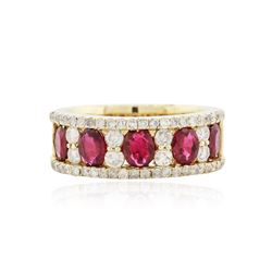 14KT Yellow Gold 1.53 ctw Ruby and Diamond Ring