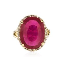 14KT Two-Tone Gold 13.21 ctw Ruby and Diamond Ring