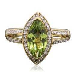 14KT Yellow Gold 1.85 ctw Tsavorite and Diamond Ring