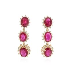 14KT Yellow Gold 13.98 ctw Ruby and Diamond Earrings
