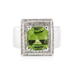 14KT White Gold 4.05 ctw Peridot and Diamond Ring
