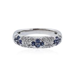 18KT White Gold 0.50 ctw Sapphire and Diamond Ring