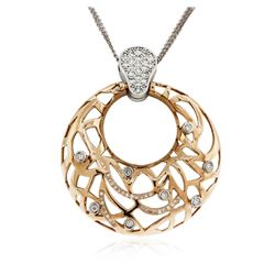 14KT Rose and White Gold 0.88 ctw Diamond Pendant With Chain