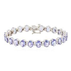 14KT White Gold 15.84 ctw Tanzanite and Diamond Bracelet