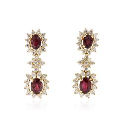14KT Yellow Gold 2.08 ctw Ruby and Diamond Earrings