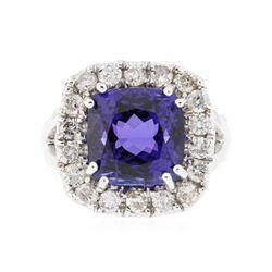 14KT White Gold 9.59 ctw GIA Cert Tanzanite and Diamond Ring