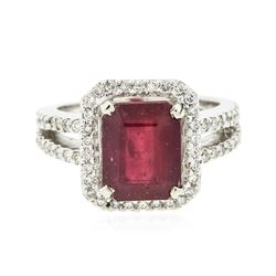 14KT White Gold 5.56 ctw Ruby and Diamond Ring
