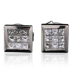 14KT White Gold 0.73 ctw Princess Diamond Earrings